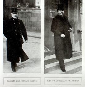Do nové vlády usedl i staronový ministr zeměbrany Georgi (vlevo) a již osvědčený ministr kultury a vyučování Stürgkh.