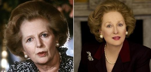 Margaret Thatcherová (vlevo) a její filmová podoba v podání Meryl Streepové.