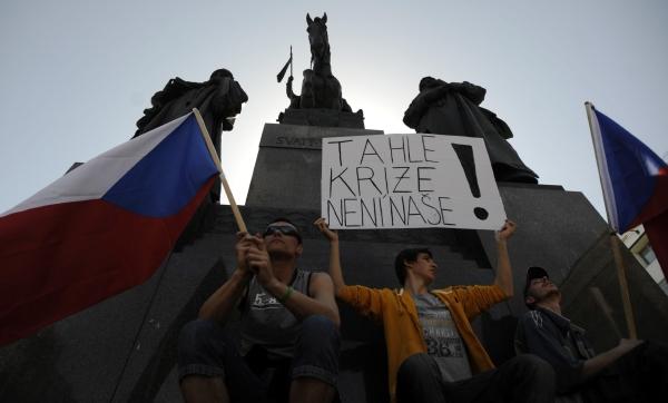 Protest na Václavském náměstí.