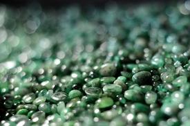 Vystavené smaragdy.