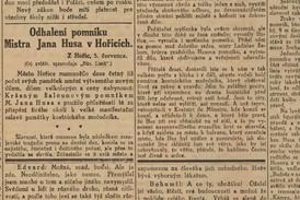 Zpráva o Husových oslavách v Národních listech z 6. 7. 1914.