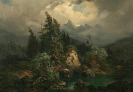 Obraz Adolfa Kosárka Horská krajina v bouři, před rokem 1850.