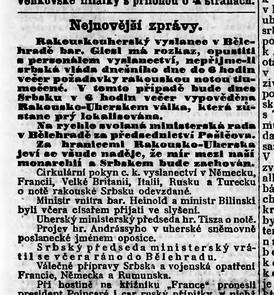 Nejnovější zprávy z 25. 7. 1914.