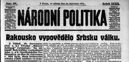 Národní politika z 29. 7. 1914.