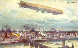 Německá vzducholoď při náletu.