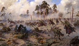 Útok ruské jízdy v severní části východní fronty, kde operovala německá armáda.