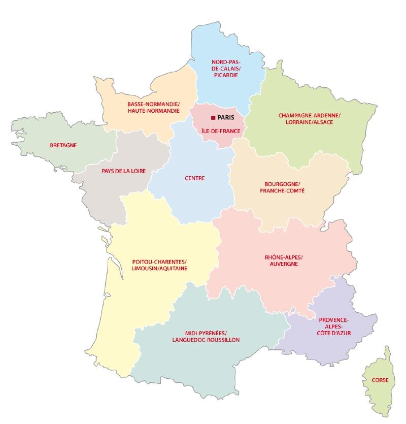 Mapa Mapa Francie Regiony