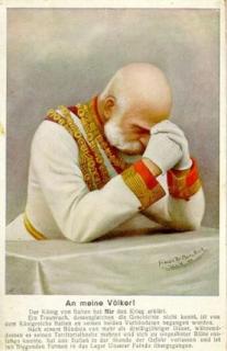 Císař František Josef se modlí za vítězství.