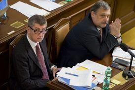Ministr financí Andrej Babiš (vlevo) s předsedou rozpočtového výboru sněmovny Václavem Votavou.