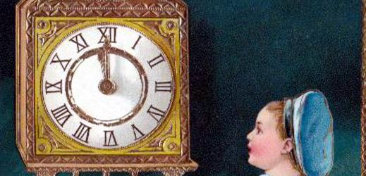 Změna času na dobové pohlednici.
