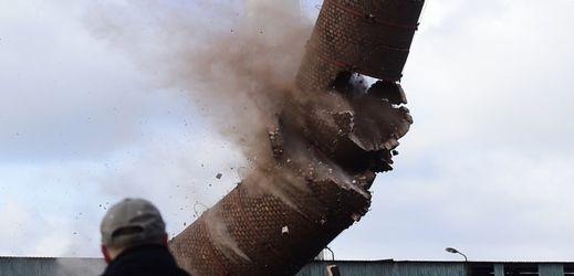 Tři z odstřelených komínů byly cihlové, jeden ocelový.