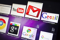 Ikony YouTube, Gmail, Google Plus, Google Chrome a Picasa.