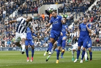 Leicester v zápase s West Bromwich Albion.