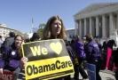 Příznivci zdravotní reformy Obamacare.