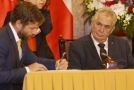 Ministr spravedlnosti Robert Pelikán (vlevo) a prezident Miloš Zeman.