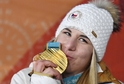 Ester Ledecká se zlatou medailí.