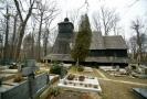 Dřevěný kostel Božího Těla (Guty) před požárem.