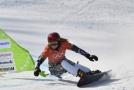Ester Ledecká se připravuje na snowboardový závod.