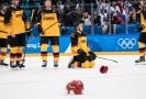 Smutek ve tváři německých hokejistů po prohraném finálovém zápase o olympijské zlato.
