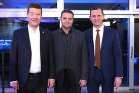 Tomio Okamura (vlevo), Zdeněk Ondráček a Jaromír Soukup.