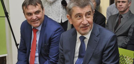 Brněnský primátor Petr Vokřál, předseda vlády v demisi Andrej Babiš.