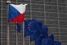 Vlajka České republiky a vlajka EU (ilustrační snímek).