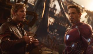Chris Pratt (vlevo) a Robert Downey Jr. jako Star-Lord a Iron Man.