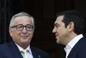 Zleva Jean-Claude Juncker a řecký premiér Alexis Tsipras.