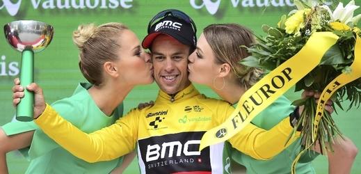 Cyklista Richie Porte po výhře v páté etapě Kolem Švýcarska.