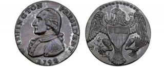 Unikátní mince s Washingtonovou podobiznou.