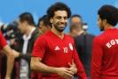 Salah byl v jednom z tréninků v dobré náladě.
