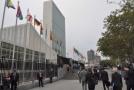Sídlo Organizace spojených národů v New Yorku v průběhu všeobecné rozpravy Valného shromáždění OSN.