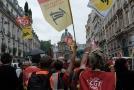 Protest francouzských železničních odborářů v Paříži.
