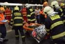 Cvičení záchranářů, hasičů a policistů.
