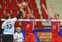 Čeští volejbalisté v jednom ze zápasů kvalifikace o Ligu národů.