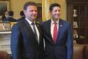 Předseda Poslanecké sněmovny ČR Radek Vondráček (vlevo) se setkal s předsedou Sněmovny reprezentantů USA Paulem Ryanem (vpravo)