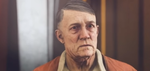Zestárlý Adolf Hitler bez kníru ve hře Wolfenstein 2: The New Colossus.