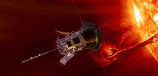 Sonda Parker Solar Probe u Slunce, grafické znázornění.