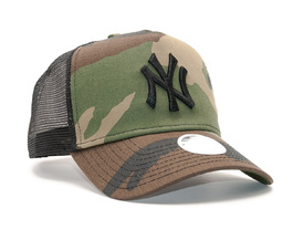 Dámská Kšiltovka New Era Camo Team Aframe Trucker New York Yankees 9FORTY Woodland Camo Snapback.