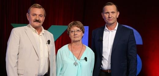 Jaromír Soukup (vpravo) se svými hosty Ladislavem Sornasem a Jiřinou Schamsovou.
