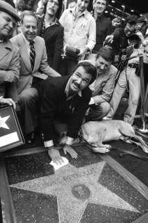 Americký herec Burt Reynolds u své hvězdy na chodníku slávy v Hollywoodu.