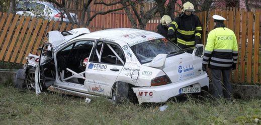 Místo tragické nehody na rallye v Lopeníku na Uherskohradišťsku.