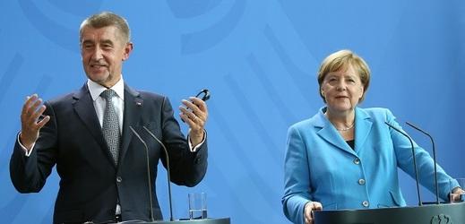 Andrej Babiš a Angela Merkelová.