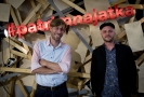Zleva ředitel Štěpán Kubišta a herec a principál Cirku La Putyka Rostislav Novák vystoupili 10. září 2018 v Praze na tiskové konferenci k nové sezoně divadelního prostoru Jatka78.