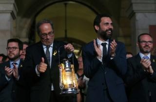 Katalánský premiér Quim Torra a Roger Torrent, předseda Katalánského parlamentu.