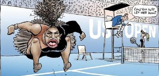 Australský kreslíř vytvořil karikaturu se Serenou Williamsovou.