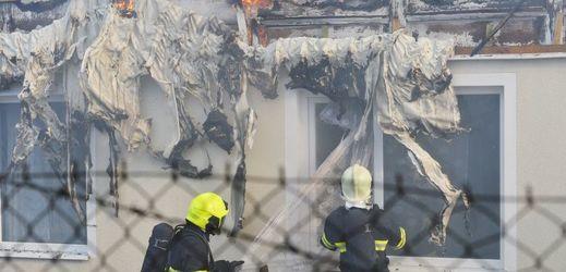 Požár ubytovny v Plzni.