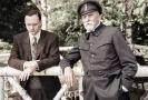 Jan Budař jako Čapek a Martin Huba jako Masaryk v prvních záběrech filmu Hovory s TGM.