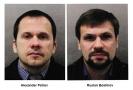 Alexandr Petrov a Ruslan Boširov, kteří jsou podezřelí z útoku na bývalého ruského tajného agenta Sergeje Skripala a jeho dceru v Británii.