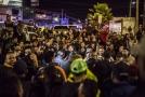 Protestující migranti v mexickém městě Tijuana.